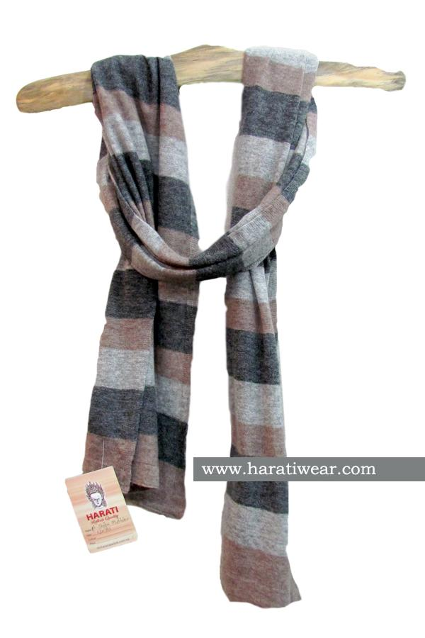 NATURAL STRIPE SCARF